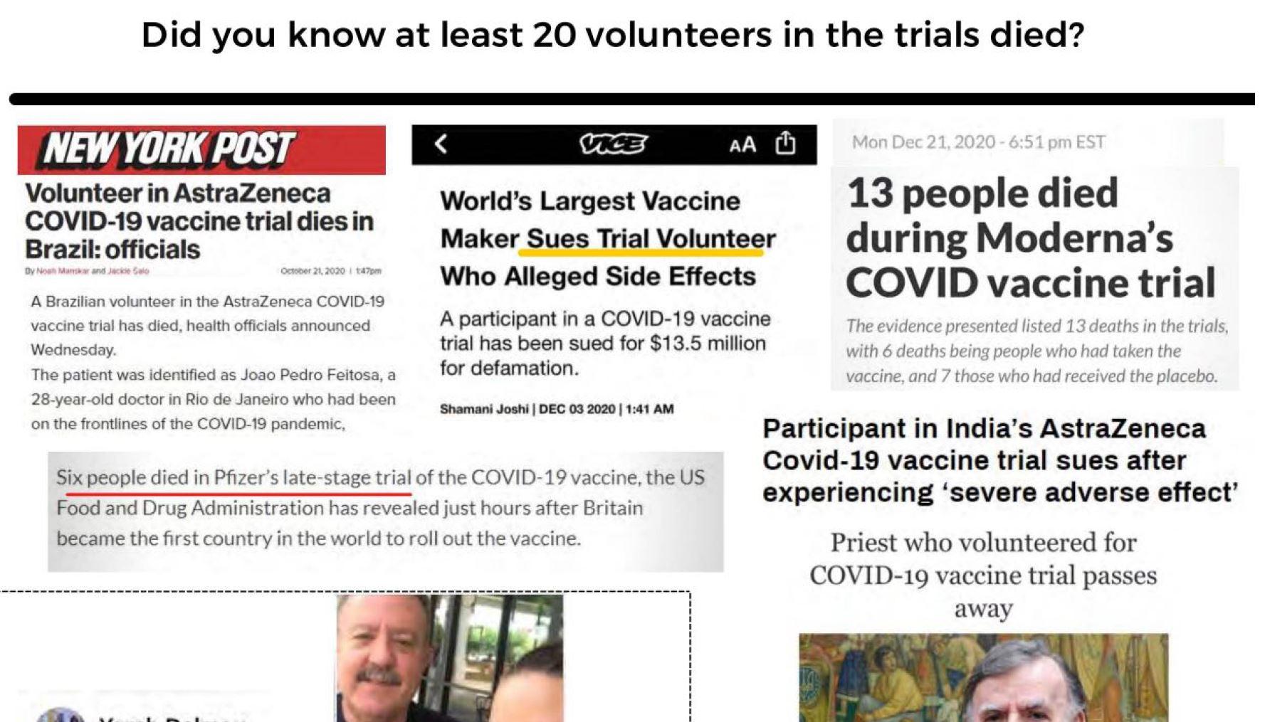 COVID TRIAL DEATHS