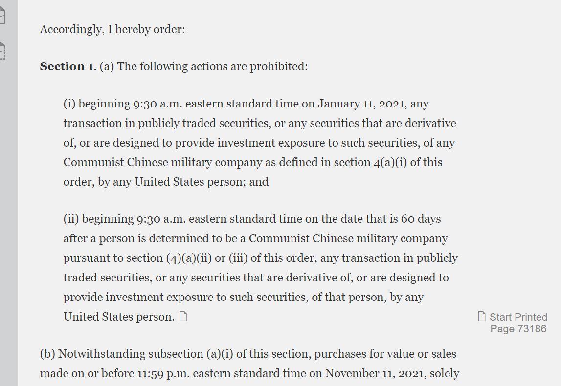 Executive Order 13959 Active
