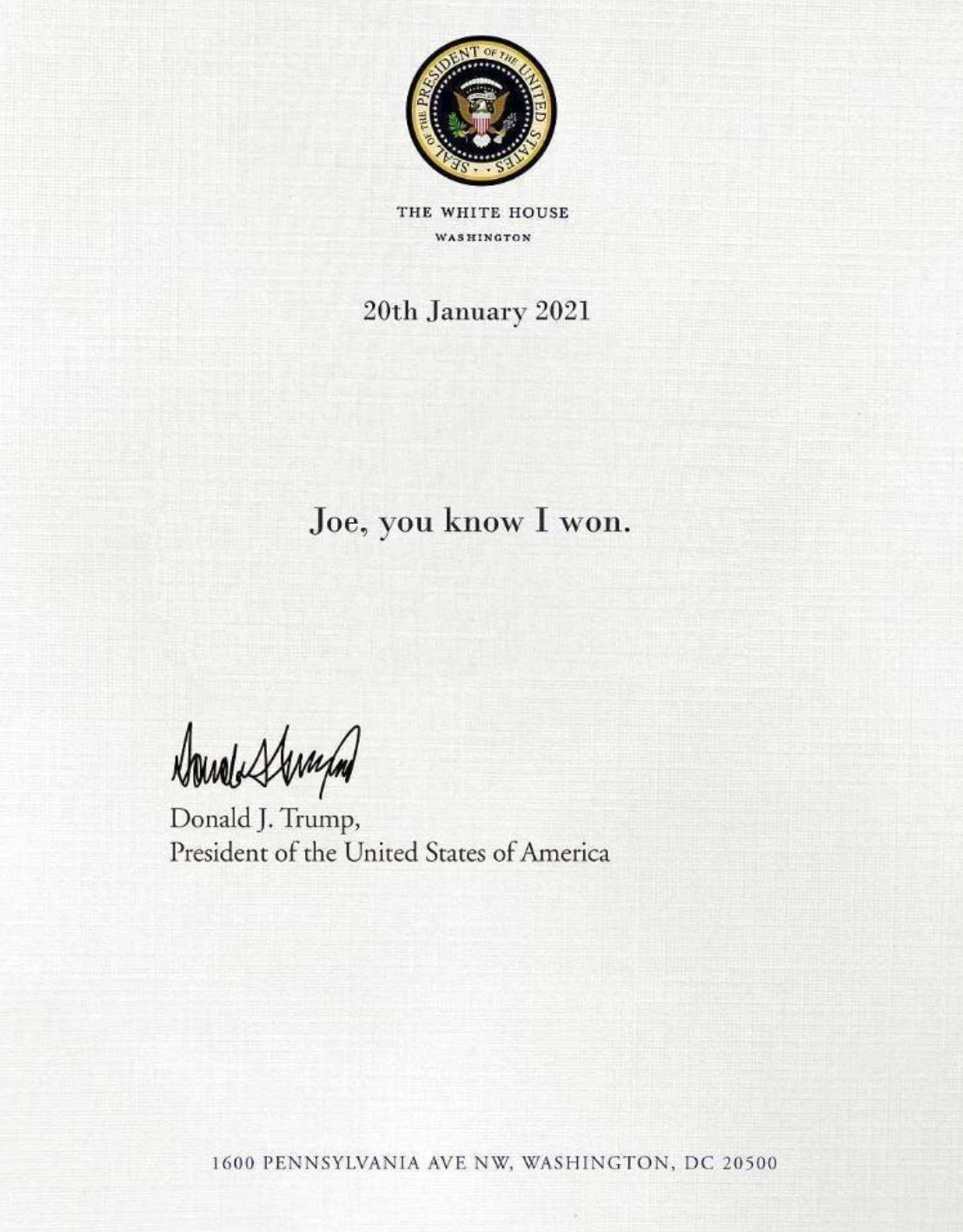 Trump's Letter to Biden